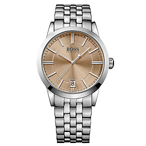 Hugo Boss men's stainless steel salmon dial bracelet watch - Product number 2903156