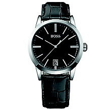 Hugo Boss men's stainless steel black leather strap watch - Product number 2903199