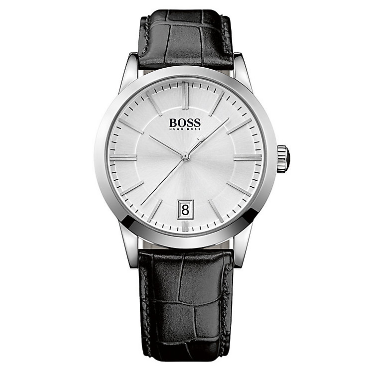 Hugo Boss men's stainless steel black leather strap watch - Product number 2903237