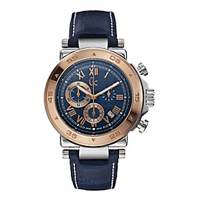 Guess 1 Class men's rose gold-plated blue strap watch - Product number 2904128