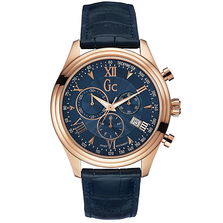 Gc Men's Rose Gold-Plated Navy Blue Leather Strap Watch - Product number 2904179