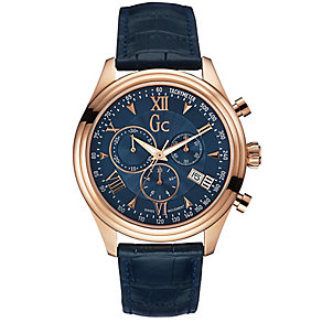 GC men's rose gold-plated black leather strap watch - Product number 2904179
