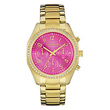 Caravelle New York Ladies' Hot Pink & Rose Gold Plated Watch - Product number 2905124