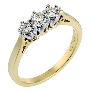 18ct Gold Half Carat Diamond Trilogy Ring