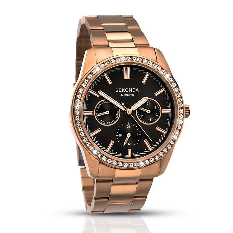 Sekonda Ladies' Rose Gold Plated Crystal Bracelet Watch - Product number 2911299