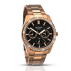 Sekonda Ladies' Rose Gold Plated Crystal Bracelet Watch - Product number 2911299
