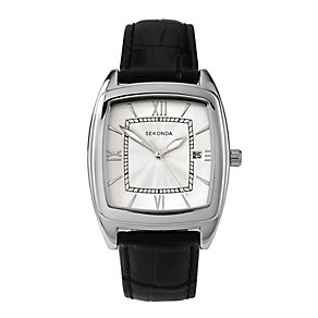 Sekonda Men's Silver Tone Dial & Black Leather Strap Watch - Product number 2911302