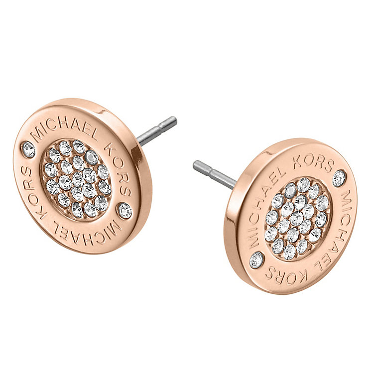 Michael Kors Rose Gold Tone Stone Set Logo Stud Earrings - Product number 2912740