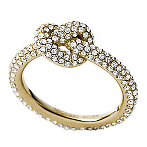 Michael Kors gold-plated pave stone set knot ring size I.5 - Product number 2912759