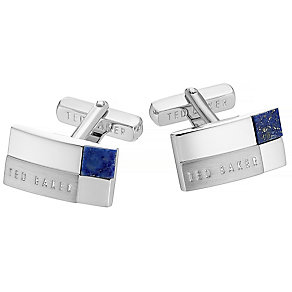 Ted Baker stainless steel blue stepped cufflinks - Product number 2916789