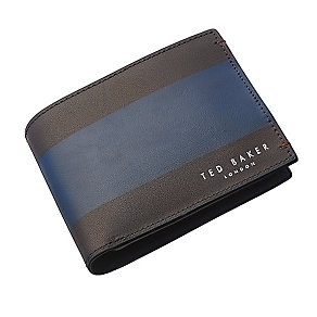 Ted Baker chocolate & navy leather strip panel bifold wallet - Product number 2916975
