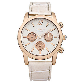 Lipsy Ladies' Rose Gold Tone & Pink Leather Look Watch - Product number 2917211