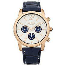 Lipsy Ladies' Rose Gold Tone & Blue Leather Look Watch - Product number 2917238