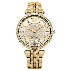 Lipsy Ladies' Crystal Set Yellow Gold Tone Bracelet Watch - Product number 2917262
