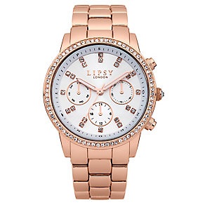 Lipsy Ladies' Crystal Set Rose Gold Tone Bracelet Watch - Product number 2917319