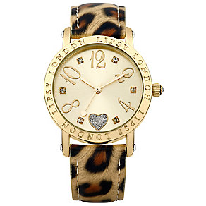 Lipsy Ladies' Yellow Gold Tone Leopard Print Strap Watch - Product number 2917505