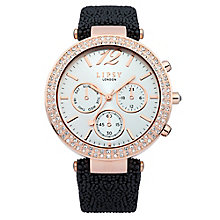 Lipsy Ladies' Rose Gold Tone & Leather Look Strap Watch - Product number 2917599