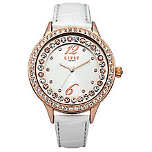 Lipsy Ladies' Stone Set White Leather Look Strap Watch - Product number 2917645