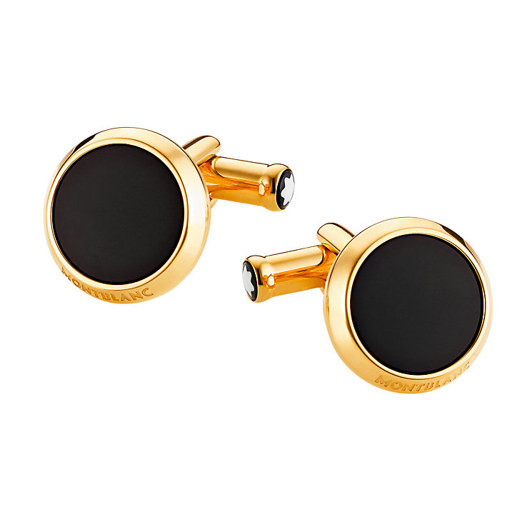 Montblanc stainless steel gold-plated black onyx cufflinks - Product number 2918269