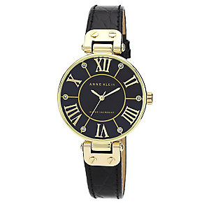 Anne Klein Ladies' Black Dial Black Leather Strap Watch - Product number 2919893