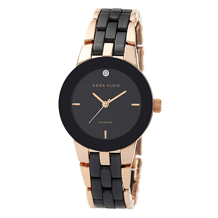 Anne Klein Ladies' Black Dial Two Colour Bracelet Watch - Product number 2919931