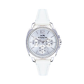 Coach ladies' stainless steel white leather strap watch - Product number 2920328