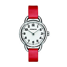 Coach ladies' stainless steel red leather strap watch - Product number 2920409