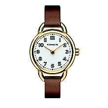 Coach ladies' gold-plated tan leather strap watch - Product number 2920417