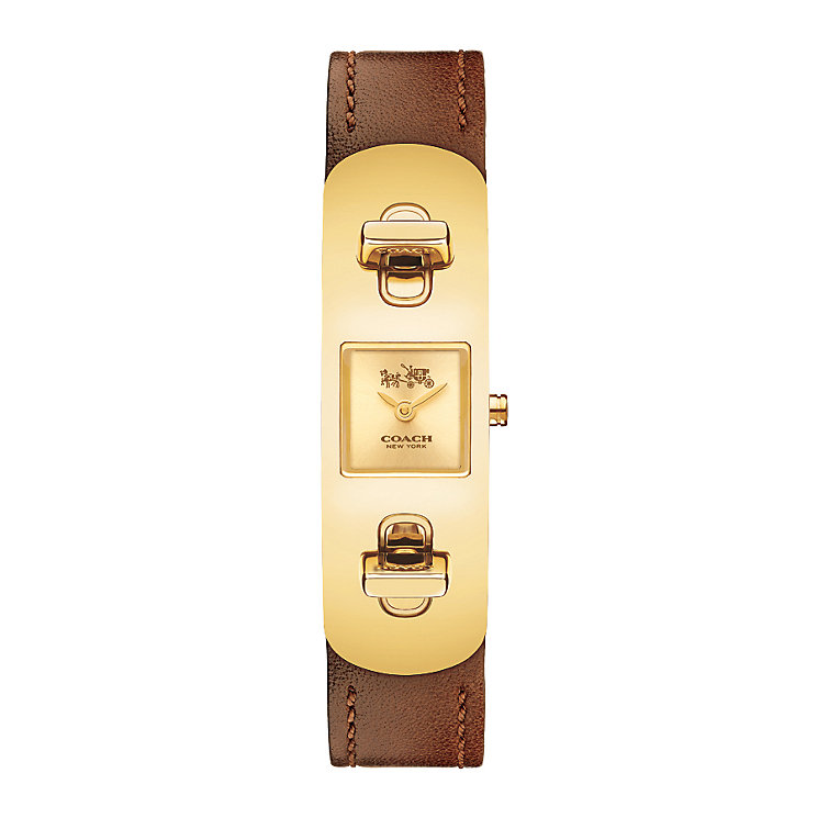 Coach Ladies' Gold-plated Turnlock Tan Strap Watch - Product number 2920441
