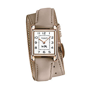 Coach ladies' rose gold-plated taupe strap watch - Product number 2920476
