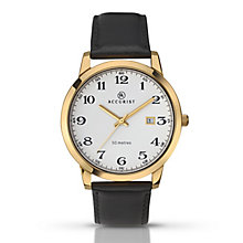 Accurist Men's Yellow Gold Plated & Black Leather Watch - Product number 2920549