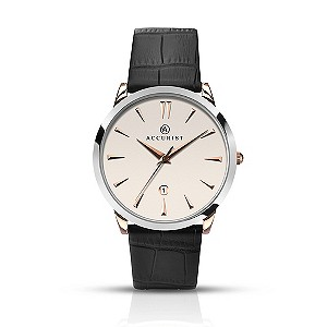 Accurist Men's Two Tone Black Leather Strap Watch