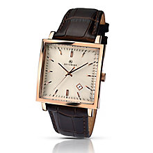 Accurrist Men's Rose Gold Plated Square Dial Leather Watch - Product number 2920573