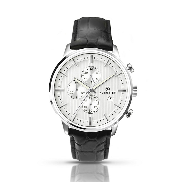 Accurist Men's Stainless & Black Leather Strap Watch - Product number 2920603