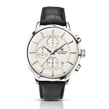 Accurist Men's Stainless Steel & Black Leather Strap Watch - Product number 2920611