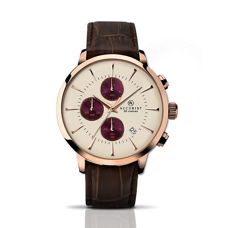 Accurist Men's Rose Gold Plated & Brown Leather Strap Watch - Product number 2920638