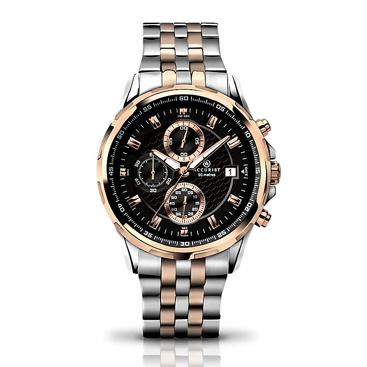 Accurist Men's Two Tone Chronograph Bracelet Watch - Product number 2920654