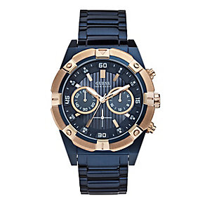 Guess Men's Navy & Rose Gold Tone Chronograph Watch - Product number 2920719