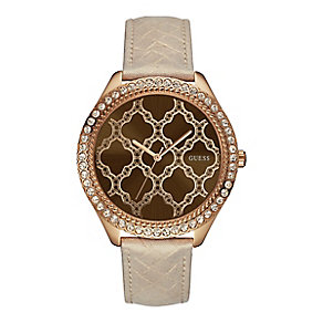 Guess Ladies' Crystal & Rose Gold Tone Leather Strap Watch - Product number 2920727