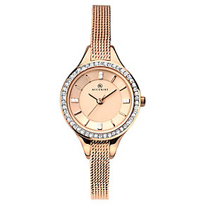 Accurist Ladies' Rose Gold Tone Mesh Strap Watch - Product number 2920735