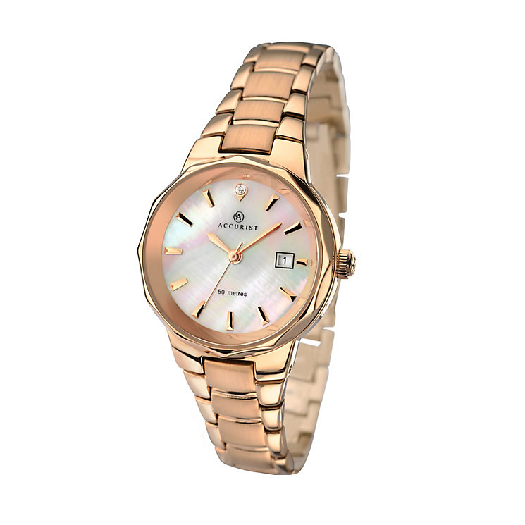 Accurist Ladies' Mother Of Pearl Dial Rose Gold Plated Watch - Product number 2921812