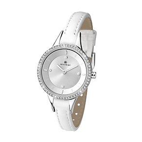 Accurist Ladies' Stone Set White Leather Slim Strap Watch - Product number 2921820