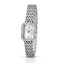 Accurist Ladies' Rectangular Stone Set Stainless Steel Watch - Product number 2921863