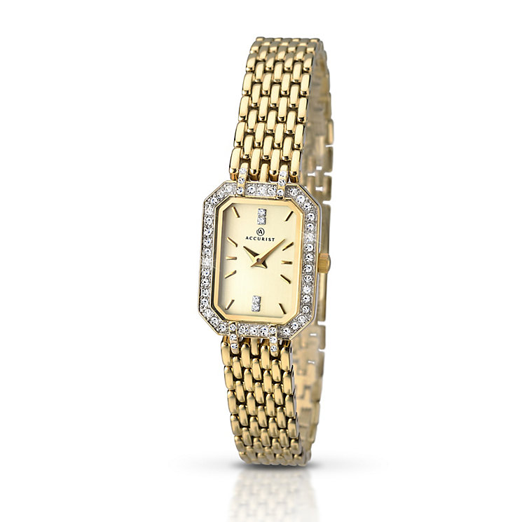 Accurist Ladies' Stone Set Yellow Gold Plated Bracelet Watch - Product number 2921871