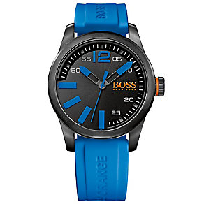 Boss Orange Men's Black Dial & Blue Silicone Strap Watch - Product number 2922142