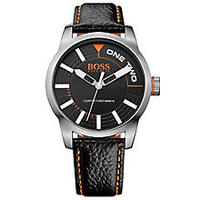 Hugo Boss Orange Men's Stainless Steel & Black Leather Watch - Product number 2922657