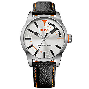Hugo Boss Orange Men's Stainless Steel & Black Leather Watch - Product number 2922665