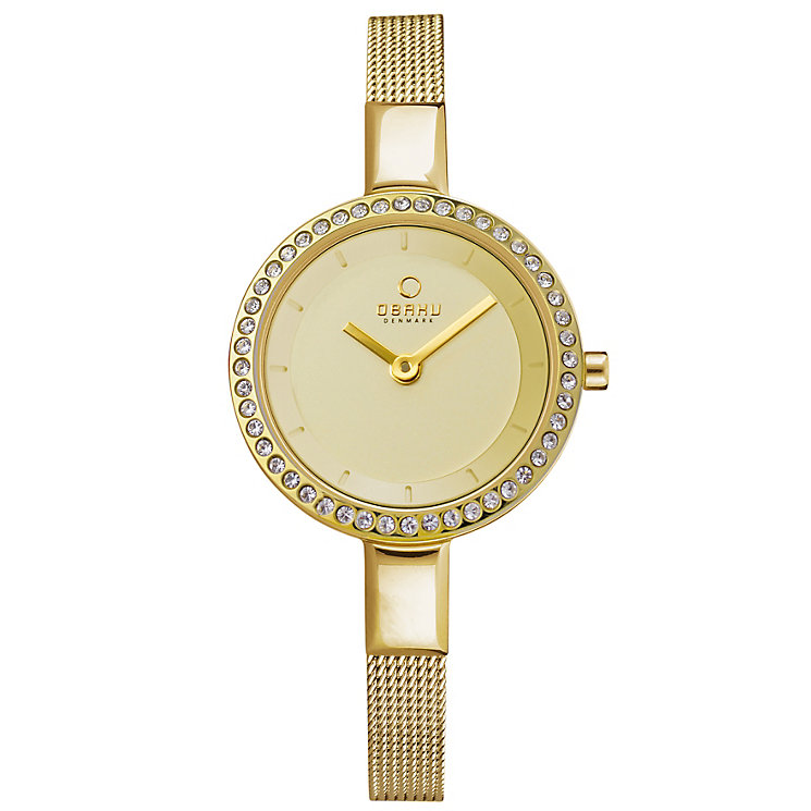 Obaku Ladies' Stone Set Yellow Gold Plate Mesh Watch - Product number 2925176