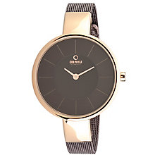 Obaku Ladies' Rose Gold Plate & Brown Mesh Strap Watch - Product number 2925184