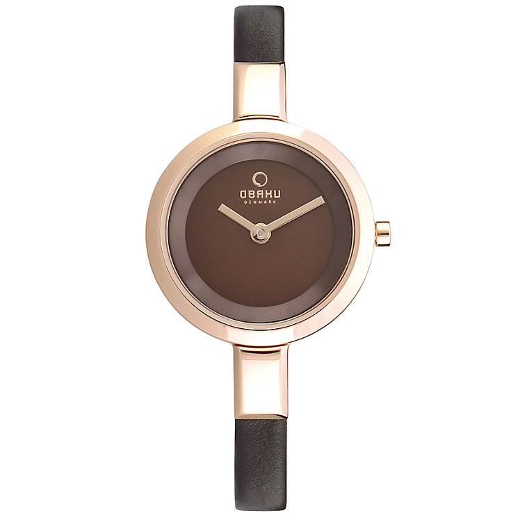 Obaku Ladies' Rose Gold Plate & Brown Leather Strap Watch - Product number 2925192